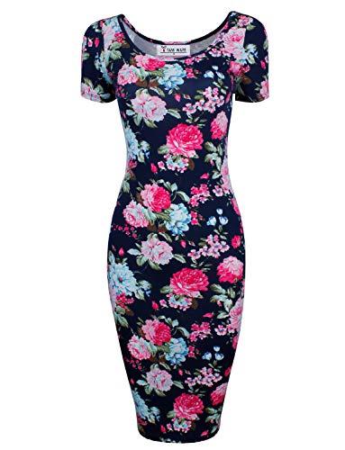 Tom's Ware Women's Sweetheart Short Sleeve Midi Dress TWCWD053-NAVY-US L