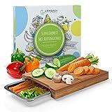 LAMONDI® Premium Schneidebrett & rostfreie Auffangschale – Küchenbrett aus Bambus – Mit Edelstahlschale – [32x24,5x3cm] (Edelstahl)