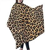 Capa de delantal impermeable con estampado de leopardo, para corte de pelo, para peluquería, esteticista, mujer, hombre, adulto, 55 x 66 pulgadas