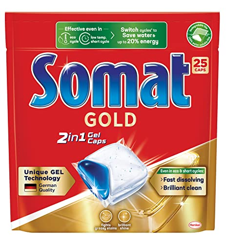 Somat Gold 2in1 Gel Dishwasher Capsules (25 Pack), Dishwashing Tablets for Brilliant Shine, Dishwasher Detergent Fights Greasy Stains even in Eco and Short Cycles