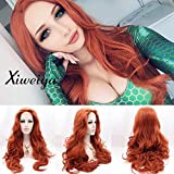 Long Copper Hair Auburn Wavy Wig Long Body Wave Synthetic Lace Front Wig Free Part Heat Resistant Fiber Drag Queen Long Wavy Red Hair Replacement Wig 24 inch