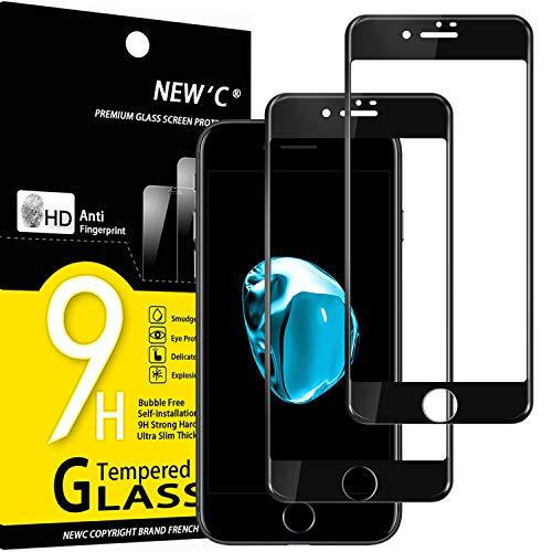 NEW'C Lot de 2, Verre Trempé Compatible avec iPhone 6 et iPhone 6s Integral Couverture Complète Film Protection écran en Noir Anti Rayures Ultra résistant dureté 9H