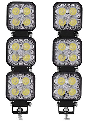 Ishima 6pcs 12W Faro Trabajo LED Focos de Coche 12V 24V Faros LED Tractor 6000K Off-road Foco de Trabajo LED IP67 Impermeable para Moto ATV SUV Camión Barco