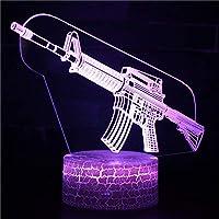 3Dイリュージョンナイトライト 小型機関銃 溶岩亀裂ベース キッズ3DLEDナイトライトファッション7色段階的に変化するスマートタッチスイッチUSBテーブルランプホリデークリスマスおもちゃギフト家の装飾