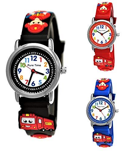 Pure Time® Kinder Feuerwehr-Auto 3D Uhr Jungen-Uhr Mädchen-Uhr Armbanduhr Silikon Armband Junge Mädchen Kinderuhr Schwarz Helblau Türkis Blau Rot Orange Grün Sport-Uhr Lern-Uhr