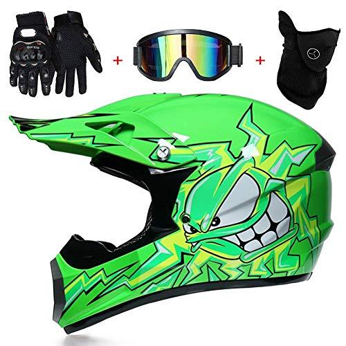 KAISIMYS Casco de MTB de cara completa con guantes, estampado de pulpo verde, casco de motocross para motocicleta, equipo de protección, talla L