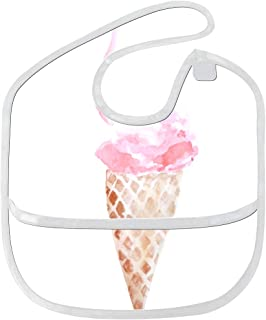 Baby Accessories Carton Ice Cream Cones Custom Soft Waterproof Washable Stain And Odor Resistant Baby Feeding Dribble Drool Bibs Burp Cloths For Infant Overall For 6-24 Months Kids Gifts