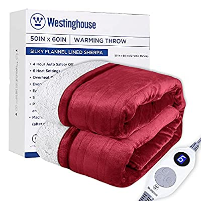 """Westinghouse Electric Blanket Heated Throw Flannel to Sherpa Reversible Heating Blanket 50""""x60"""", 6 Heat Settings & 4 Hours Auto Off, Machine Washable Burgundy Red 50x60in from Kata"""