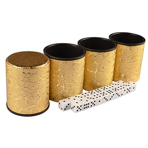 Casino Liar's Dice Golden Cup Shaker Bluffing Game - 4 Cups and 20 1.6cm Dice by Yellow Mountain Imports