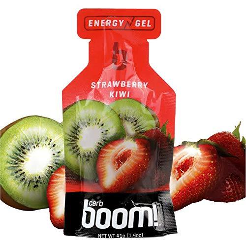 Boom Nutrition - Carb Boom Energy Gel - Fruit-Flavored Energy Gels - Workout Gel - Energy Gel for Cycling - Running Gel - Natural Energy Gel - Strawberry Kiwi (24 Pack)