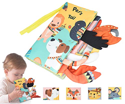 Soft Cloth Book for Baby, Animal Tails Cloth Book Toddler and Infants Early Education Crinkle Books Non-Toxic Toys for Babies Best for Baby Gifts