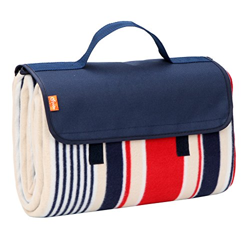 yodo Outdoor Picnic Blanket Water-Resistant for Camping Hiking Festivals,Spring Summer Stripe
