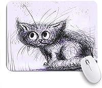 ECOMAOMI 可愛いマウスパッド 小さなインクの子猫のシルエット 滑り止めゴムバッキングマウスパッドノートブックコンピュータマウスマット