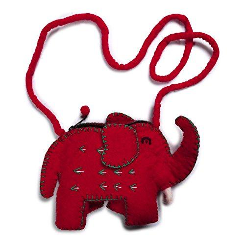 KUNST UND MAGIE Kindertäschchen Elefant Schultertasche aus Filz (Wolle), Farbe:Rot