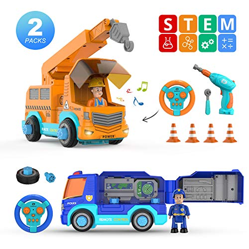 DEERC Remote Control Take Apart Toys Set 2.4GHz RC Police Car&Crane,STEM Construction Kit with Electric Drill-Lights-Music,Building City Service Vehicle Toys,Assembly Gift for Kids Toddlers Boys Girls