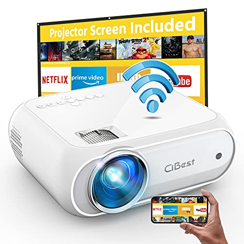 Cibest WiFi Projector Native 1080p, 7500L Movie Projector with High Contrast of 8000:1, Home Projector, Phone Projector, Compatible with iPhone, Android, TV Stick, etc. Comes with Projector Screen