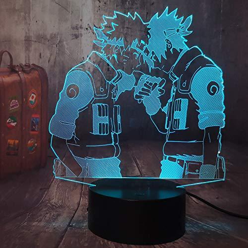 Uzumaki Naruto Japonés Naruto Anime 3D LED ilusión óptica luz nocturna USB Touch Remote lámpara de mesa juvenil dormitorio decoración Navidad lámpara