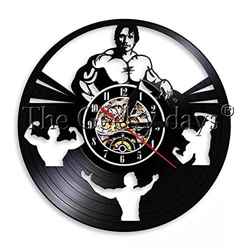 XYVXJ 1 Pieza Schwarznegger Fitness Daren Vinilo Registro Reloj de paredregalo para Culturismo Fitness Hombre Gimnasio Deporte