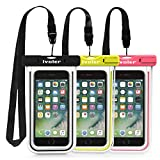 iVoler [3 Pezzi] Custodia Impermeabile Smartphone, IPX8 Borsa Impermeabile Sacchetto Impermeabile Cellulare Dry Bag Universale Waterproof Cover per iPhone, Samsung, Huawei, ECC. (Nero+Verde+Rosa)