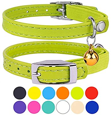 """CollarDirect Leather Cat Collar, Cat Safety Collar with Elastic Strap, Kitten Collar for Cat with Bell Black Blue Red Orange Lime Green (Neck Fit 9""""-11"""", Lime Green)"""