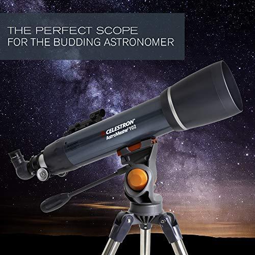 Celestron - AstroMaster 102AZ Refractor Telescope - Refractor Telescope for Beginners - Fully-Coated Glass Optics - Adjustable-Height Tripod - BONUS Astronomy Software Package