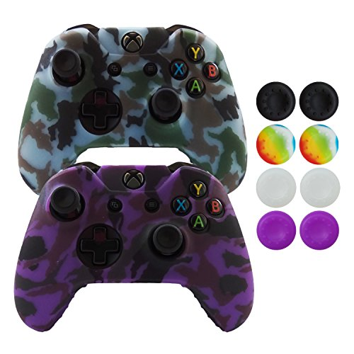 Hikfly Silicone Gel Controller Cover Skin Protector Kits for Xbox One Controller Video Games(2x Controller Camouflage cover with 8 x Thumb Grip Caps)(Purple,Grey)