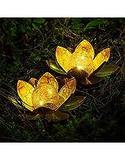 Led-tuinverlichting op zonne-energie, 2 stuks, waterdicht, outdoor, binnentuin, lotus-lichtjes, voor bloemenhek, gazon, terras, bruiloft, vakantie, decoratie (warm wit)