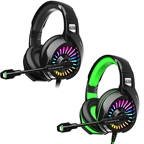 ZIUMIER Gaming Headset for PS4, PC, Xbox One, with Noise Cancelling Microphone, 7.1 Stereo Surround Sound, RGB Light, Soft Memory Over-Ear Headphones