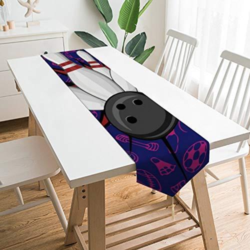 None-brands Tischläufer, 13 x 70 cm, rund, Bowlingkugel-Muster, Design, Haus, Küche, Esstisch, für drinnen und draußen, Partys, Familientreffen, Tisch, Heimdekoration, Einzug, Neujahrsläufer