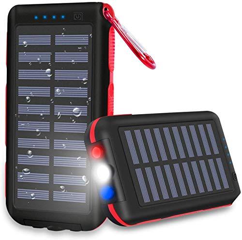 CXLiy Powerbank - Cargador solar portátil de 25000 mAh, gran capacidad, resistente al agua, 3 puertos de salida, batería externa, linterna LED y luces SOS para smartphone, tablet y otros