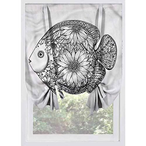 LCGGDB Animal Blackout Small Window Curtain,Hand Drawn Ornamental Fish Room Darkening Rod Pocket Curtains Balloon Shades for Small Windows, Doors, French Doors, Kitchen Windows,39'x63'