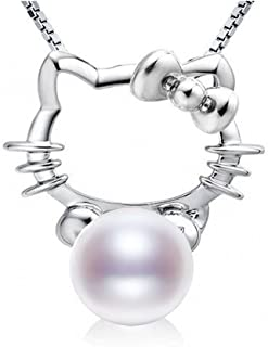 54970e32f Junhe pearl S925 Sterling Silver Lovely Hello Kitty Freshwater Pearl(8-9MM)  Necklace