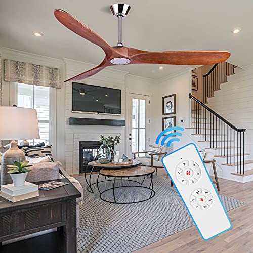 60' Wood Ceiling Fan Without Light 6 Speed Solid Outdoor Indoor Ceiling Fans with Remote for Kitchen Living Room Patio House Porch Gazebo Garage Barn