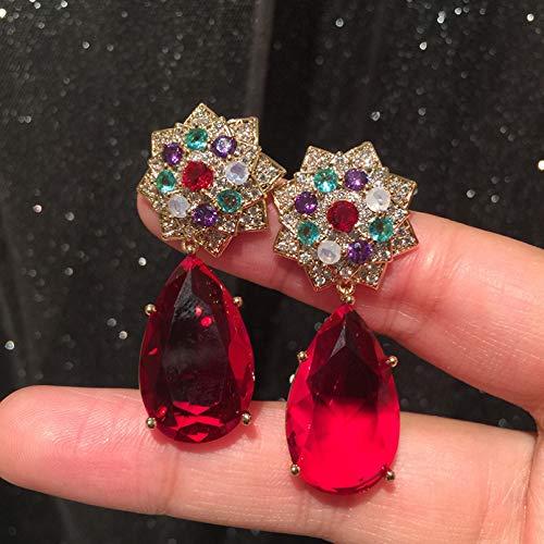 BAJIE Pendientes Moda para Mujer con Flores Multicolores y Pendientes de Boda con Gota Checa roja