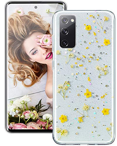 Galaxy S9 Plus Case for Women Girls, iDLike Clear Glitter Pressed Dried Real Floral Flower Cute Design Soft Silicone Protective Phone Case Cover for Samsung Galaxy S9+ Plus 6.2 2018, Yellow
