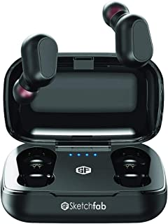Sketchfab Boompod TWS Wireless Earphones Bluetooth 5.0 Headphones Mini Stereo Earbuds Sport Headset Bass Sound Built-in Micphone (Black)
