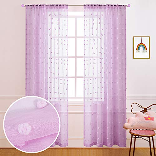 Purple Curtains 84 Inch Length for Girls Bedroom Decor 2 Panels Rod Pocket Pom Pom Texture Sheer Pastel Curtains for Canopy Decorations Kids Room Nursery Bathroom 52x84 Long Light Lilac Lavender