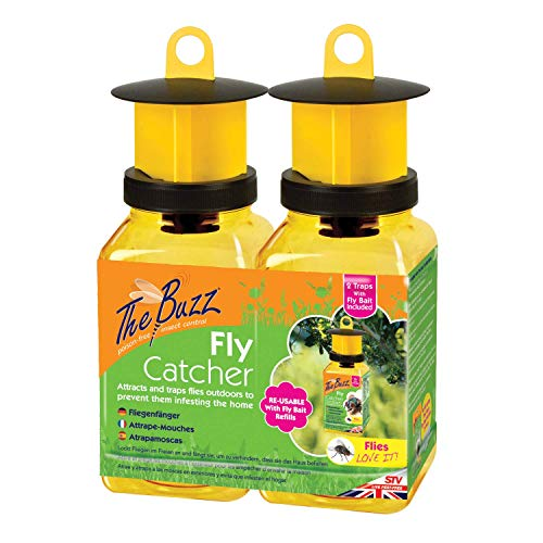 The Buzz Fly Catcher – 2 Pack (Super Effective, Refillable Insect Attractant for Outdoor Use)