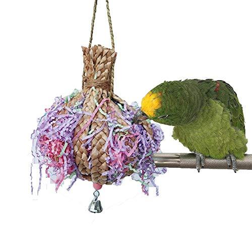 Uteruik Vogelkauwspeelgoed Rietbal met papieren stroken voor papegaai Parakeet Cockatiel Conure Lovebird Finch Cockatoo Afrikaans Grijs Macaw Eclectus Amazon Cage, 1st, NR#10