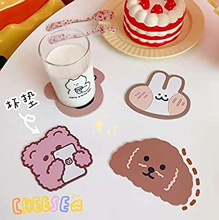 Drink,Beer Home House Kitchen Decor Wedding Registry Gift Idea Glass 3 pcs Cat Cup Silicone Coaster Mug Rubber Mat for Wine Tea Best Housewarming Beverage