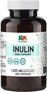 Inulin 100 Capsules, 1200 mg, Organic Chicory Root Inulin Powder