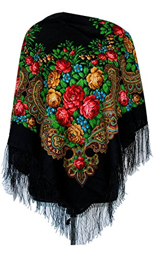 Pavlovo Posad Shawl Manufactory Damen Schal,Tuch Mehrfarbig mehrfarbig Gr. One size, Black With Red Flowers