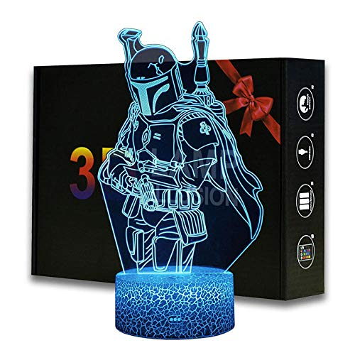 3D LED Star Wars Nachtlamp, Illusie Lamp 16 Kleur Verander Decor Lamp-Perfect Geschenken voor Kinderen en Kamer Kamer Decor Boba Fett Model