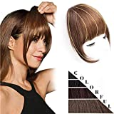 DeeThens Clip in Bangs Hair Clip On Bangs Human Hair Bangs HairPieces Clip on Real Hair Flat Neat Bangs with Gradual Temples Hairpiece for Daily Wear(Color:Light Brown)