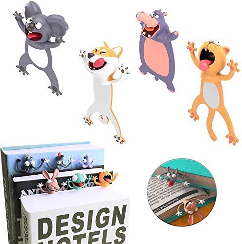 4 Pcs 3D Cartoon Animal Bookmark,Wacky Bookmark Palz - More Fun Reading,Novelty Funny Animals Reading Bookmark Cute Bookmarks Squashed Animals Stationery (Hippo+Koala+Dog+Cat)