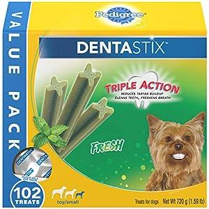 PEDIGREE DENTASTIX Dental Dog Treats for Toy/Small Dogs Fresh Flavor Dental Bones, 1.59 lb. Value Pack (102 Treats)