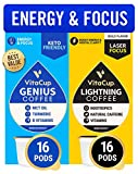 Vitacup Genius & Lightning Blend Coffee 32 Pod Bundle | Energy & Focus |Superfood & Vitamins B1, B5, B6, B9, B12 Infused | Variety Pack of (2) 16 Count Single Serve Pods Compatible with K-Cup Brewers