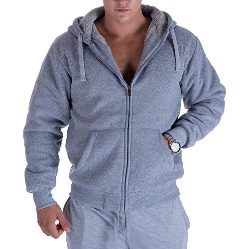 Heavyweight Warm Hoodies for Men 1.8 lbs Full Zip Sherpa Fleece Lined Thick Mens Jackets XL Light Grey