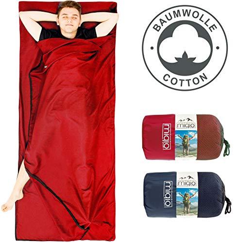Miqio® 2in1 Baumwoll-Hüttenschlafsack mit durchgängigem Reißverschluss (Koppelbar): Leichter Komfort Reiseschlafsack und XL Reisedecke in Einem - Sommer Schlafsack Innenschlafsack (Rot,Rechts)