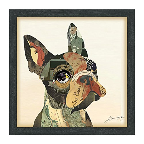 Empire Art Direct French Bulldog Dimensional Collage Handmade by Alex Zeng Framed Graphic Dog Wall Art, 17' x 17' x 1.4', Ready to Hang